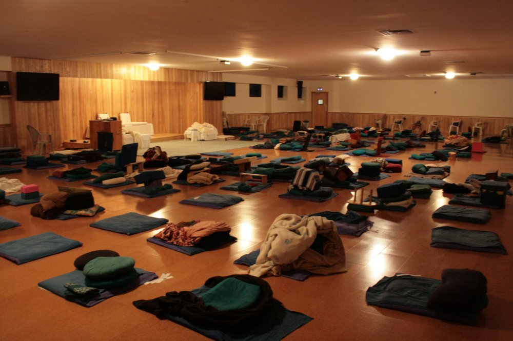 The meditation hall during a ten-day course.